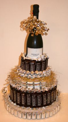 Chocolate Candy/ Wine Cake by CoveredInCandy on Etsy, $87.00