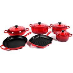 Le Creuset Signature 10 Piece Cherry Enameled Cast Iron Cookware Set