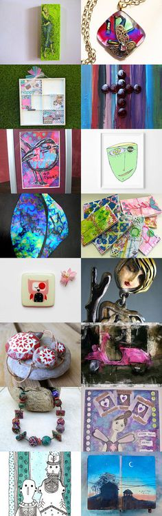 Mixed Media Monday #27 - a treasury honoring mixed media artists on etsy.com curated by CarlasCraft