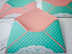 Dots and doilies envelopes
