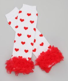 Take a look at this White & Red Heart Ruffle Leg Warmers by Pixiedust Pretties on #zulily today!
