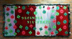 December Birthday Bulletin Board - Christmas Ornaments