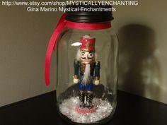 Mason Jar Snow Globe with Nutcracker by MYSTICALLYENCHANTING, $18.50