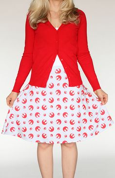 Her Universe: Step out in style with this Force-infused Rebel Alliance skirt – colorfully displaying your loyalty to their message of standing up against the evil Galactic Empire.