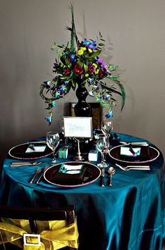 Bright, bold colors. I love how tablecloths and chair covers can make such a huge impact and is really easy to do.