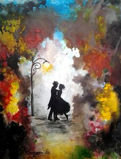 Painting Couple Dancing Umbrella | Valentine's Day - Love Couple Dance - Original Watercolor Painting ...