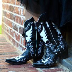 Domino Black Leather Boots, Bodacious Boot Co