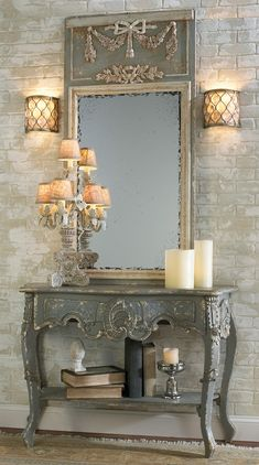 Faux brick wall, mirror, console table