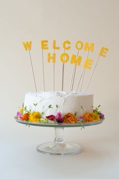 diy welcome home cake topper