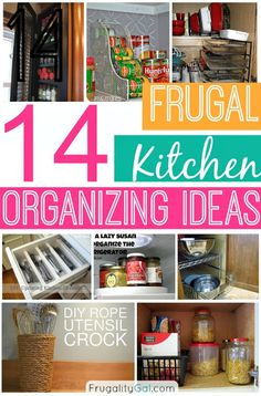 Definitely got some ideas that are must use! Frugal kitchen organizing ideas. Some really good ideas here!