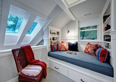 Reading nook that uses an awkward corner. Great idea.