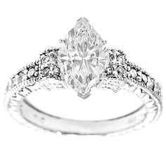 Marquise Diamond Vintage Style Engraved Engagement Ring with pave Sidestones 0.20 tcw. In 14K White Gold