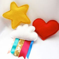 Felt plushies - yellow star, cloud with rainbow and red heart badges £12.00