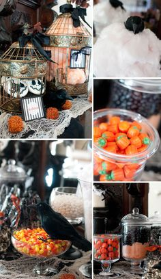 Halloween ideas... must look in thrift stores for assorted glass jars for candy!