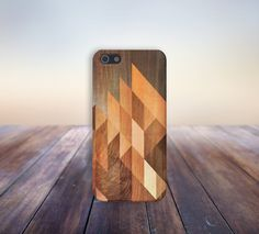 Geometric Stained Wood Case for iPhone 5/5s, iPhone 5C, iPhone 4/4s, and Samsung Galaxy