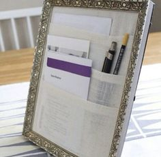 DIY Desktop Organizer: Re-purpose an old frame, buy new, or make your own...any way you make it, it's bound to be functional!