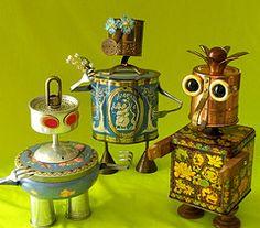 robot sculpture * CHERRY, GARDEN GIRL & MUM    Sculpture by Will Wagenaar robot sculptur, sculptures, robots, garden girl, reclaim2fam, junk art, gardens, tin, cherries