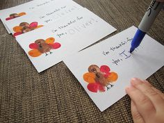 Thumbprint Turkey [Thanksgiving Crafts for Kids] ~ Really cute & easy idea for making little thank you cards or place cards for the table. Love it!
