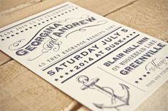 Tips and Trends: Nautical Theme Georgina - Navy & Cream Letterpressed Nautical Invite www.letterpresslove.com