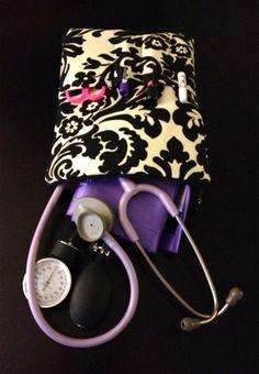 #NURSE PURSE medical case stethoscope and BP cuff case in black by LoveAmarie, $38.00 @Scrubs Magazine @Megan Marie #nursing #cna #lpn #doctor #damask #black #beige #hospital #accessory #stethoscope #supplies #carryall