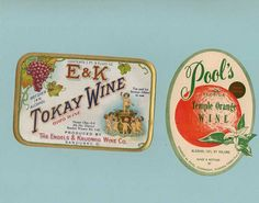 Rare Tokay wine label and Pool's wine label by TreasuresFromTexas, $4.00