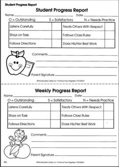 Printable Progress Report. Student Weekly Progress Report Template .