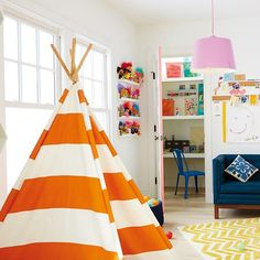 A Teepee to Call Your Own (Orange Stripe) in Playhomes | The Land of Nod #NodWishlistSweeps