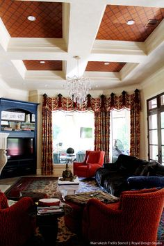 Large Marrakesh Trellis Moroccan Stencil on painted ceiling home decor by Royal Design Studio via Janie Ellis
