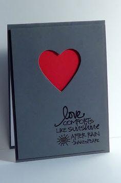 handmade card ... sweet sentiment ... dark gray card base ... red under negative space heart die cut ... clean and simple ...