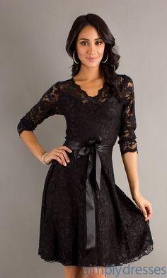 Short black lace dress @ simply dresses