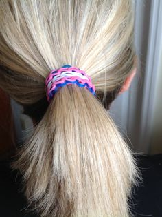 OM!   That cute Rainbow Loom bracelet is now a #hairband, or #ponytail#holder!!