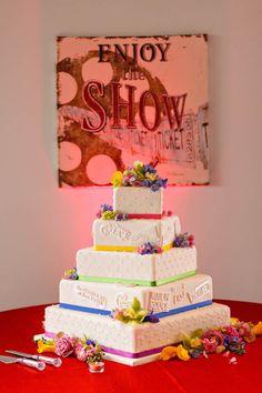Broadway Musical themed wedding cake. broadway music, cake idea, wedding ideas, broadway wedding theme, broadway theme decor, wall decorations, wedding cakes, broadway themed, themed weddings