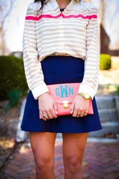 A Southern Drawl: Stripes, J.Crew Skirt, monogram clutch