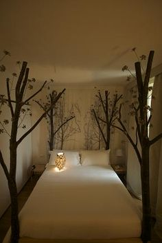 bed frames, nature, tree, guest bedrooms, canopy beds, small rooms, forest, guest rooms, dream rooms