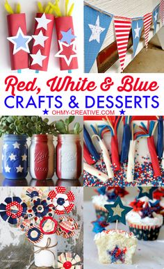Red White Blue Crafts  Desserts     OHMY-CREATIVE.COM 4th of July Craft and Recipes