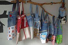 viele Jeanstaschen