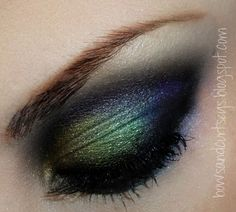 Peacock eye makeup! NYX Eyeshadow Base in Skintone Rimmel Soft Kohl Pencil in Jet Black all over top and bottom lids to deepen colors BH Cosmetics 120 Eyeshadow Palette, 2nd Edition Rimmel Glam Eyes Mascara in Black
