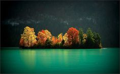 Autumn Island, Brienzersee, Switzerland.