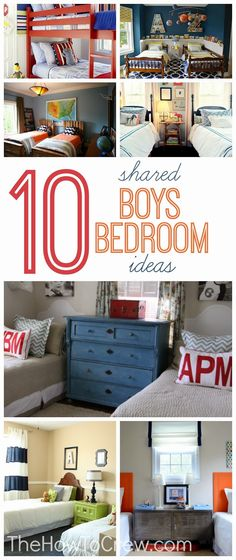 10 Cute Shared Boys Bedroom Ideas from TheHowToCrew.com.  So many great ideas to help you design a shared bedroom! #design #diy #homedecor #bedroom