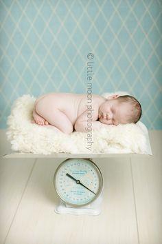 Newborn on a baby scale white floor, newborn on scale, babi scale, photo inspir, chunki babi, baby photos, babi photo, baby photo shoots