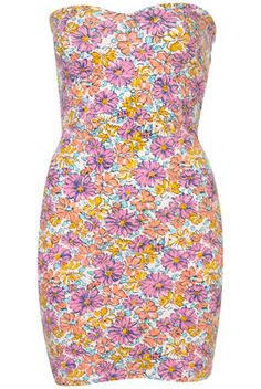 Flower Print Bandeau Dress - Bodycon Dresses - Dresses  - Clothing - Topshop