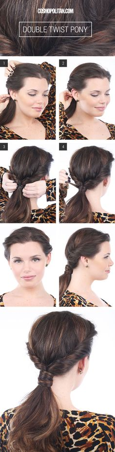 Double Twist Ponytail - Hairstyles For Long Hair - Cosmopolitan