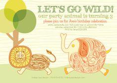 Let's Go Wild Invite by LindsayJayeDesign on Etsy, $15.00