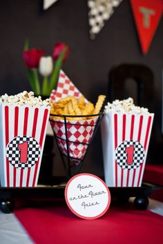 Popcorn and fries at a Retro Cars Party #retrocars #partyfood