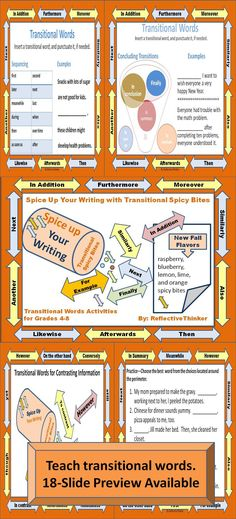 Transitional Spicy Bites--Use these 32 slides with engaging activities and printables appropriate for upper elementary, middle school, and high school to convince students to use transition words to spice up their writing. Use it as a slideshow or print and assemble the slides or pages in packets or handouts.  #CCSS #writing #transitions #transitionalwords #TPT #homeschool #highschool #middleschool