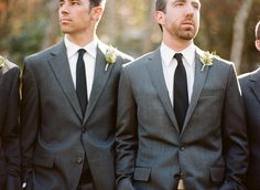 grey suits + black ties. groom's suit from jcrew.com, photography by ozzygarciablog.com
