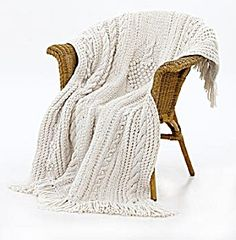 Knit Bobbled Tree Throw - need to get my mom to knit this for me!