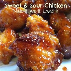 Made It. Ate It. Loved It.: Sweet and Sour Chicken chicken recipes, chicken breasts, sweet, chicken bites, brown sugar, sour chicken, food, yummi, weekly meals