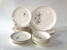 Vintage Salem China North Star / 27-Piece Dinnerware Set / Mid Century Atomic Starburst Plates, Bowls / 1960's