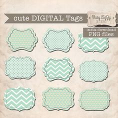 Instant download, cute mint green Digital Tags  PNG images for Digital Scrapbooking or WebSite Element.